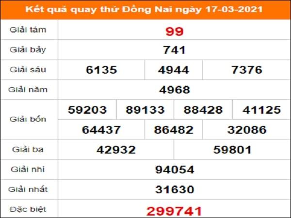 Quay thử Đồng Nai ngày 17/3/2021 thứ 4