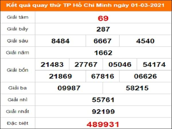 Quay thử kết quả xổ số Hồ Chí Minh ngày 1/3/2021